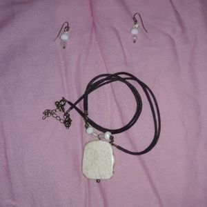 Jewelry - NWOTMarble Stone Graphite Necklace and Earring Set